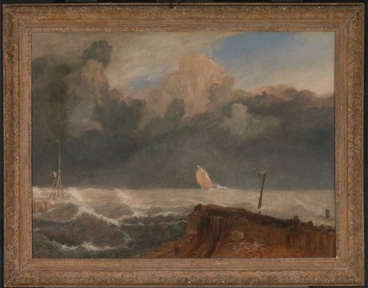 Painting of the sea with some boats